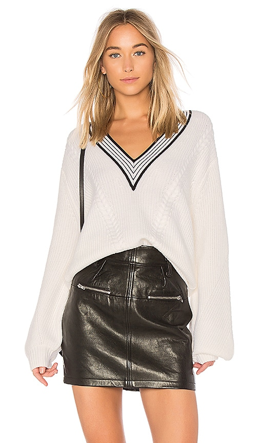 Carven V Neck Cable Knit Sweater in Ivory
