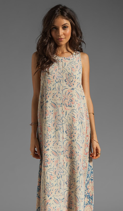 Vintage Tapestry Silk Tank Maxi Dress with Lace-Up Back Detailing
