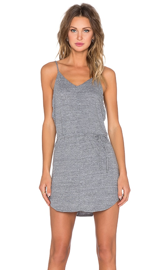 Chaser V Neck Strappy Shirtail Dress in Gray