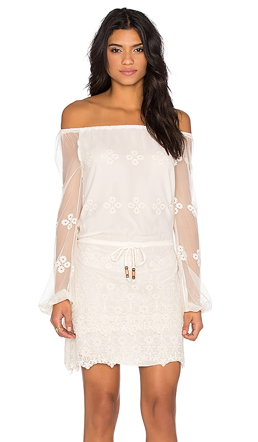 Chaser Vintage Lace Off Shoulder Long Sleeve Mini Dress in Alabaster