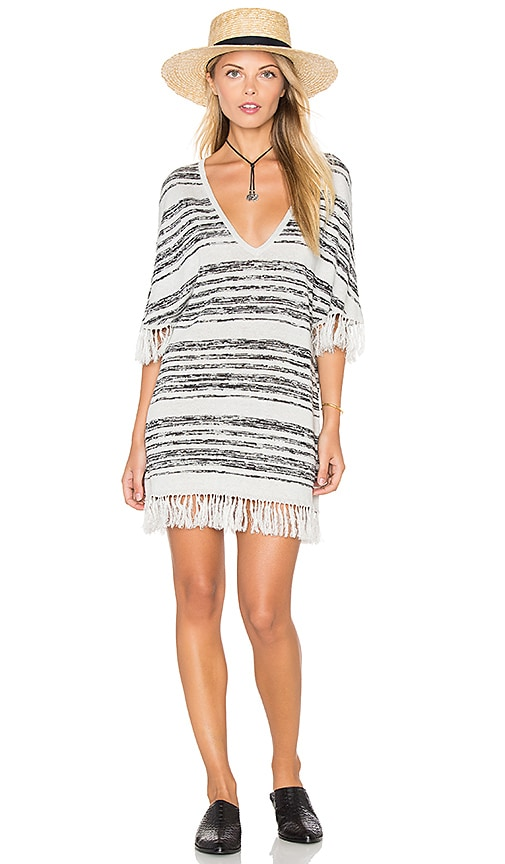 Chaser Fringe V-Neck Sweater Dress in White