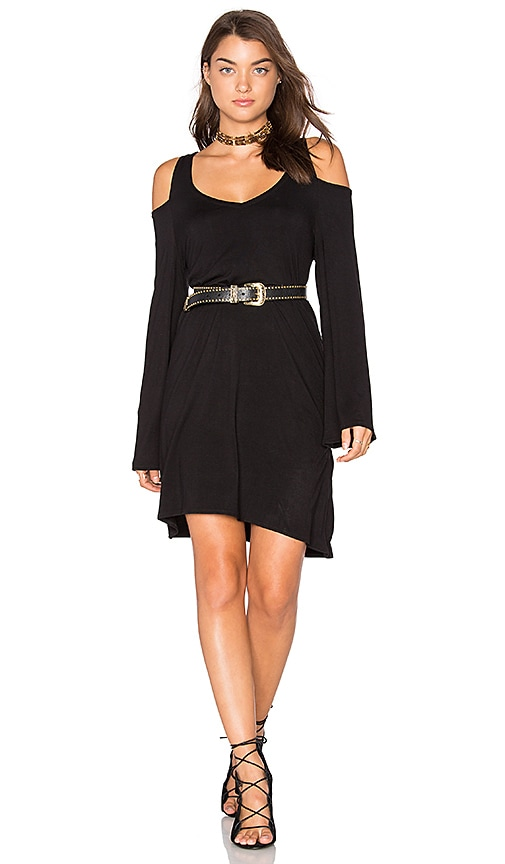 Chaser Double V Cold Shoulder Mini Dress in Black