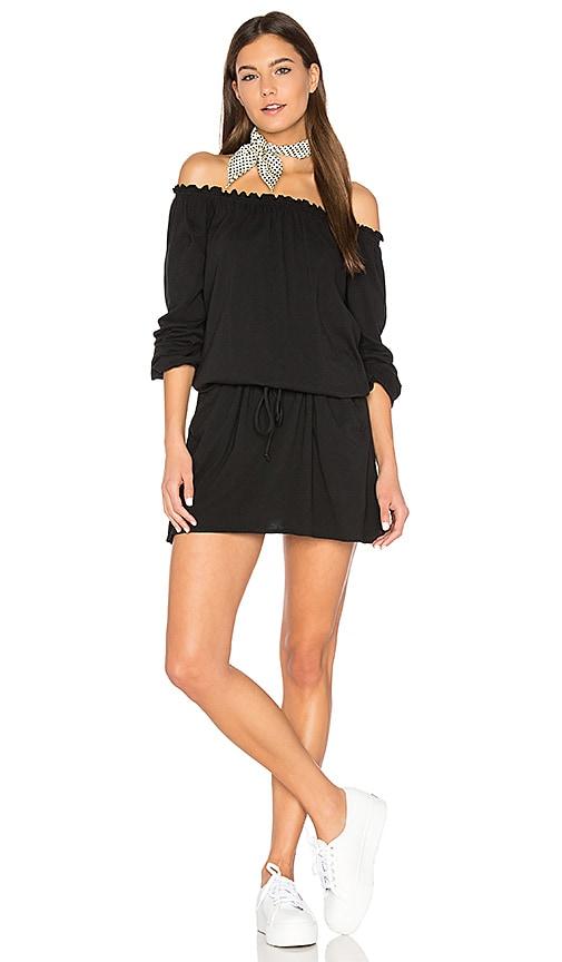 Chaser Off Shoulder Shirred Mini Dress in Black
