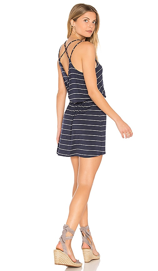 Chaser Strappy Cross Back Mini Dress in Blue