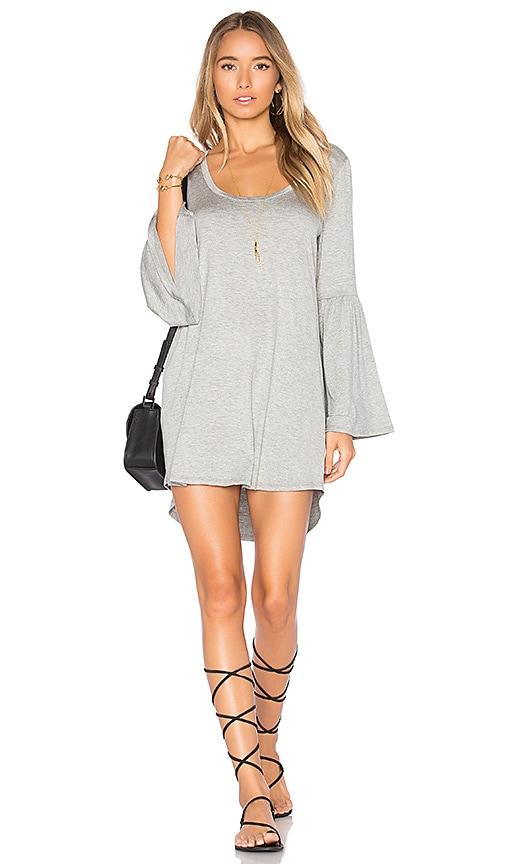 Chaser Cool Jersey Flared Sleeve Dress in Gray