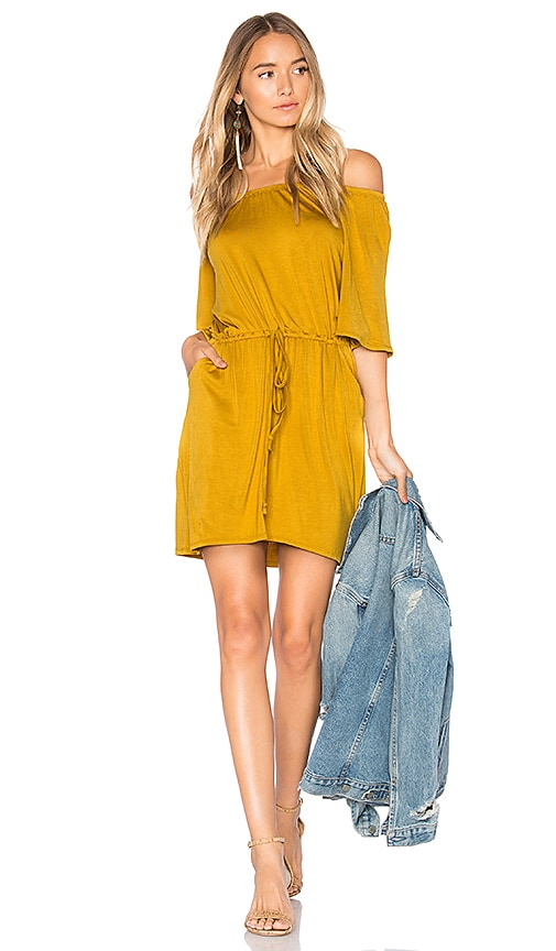 Chaser Cool Jersey Off Shoulder Dress in Mustard