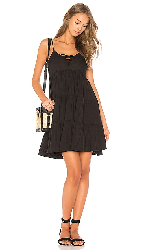 Chaser Lace Up Tiered Dress in Black