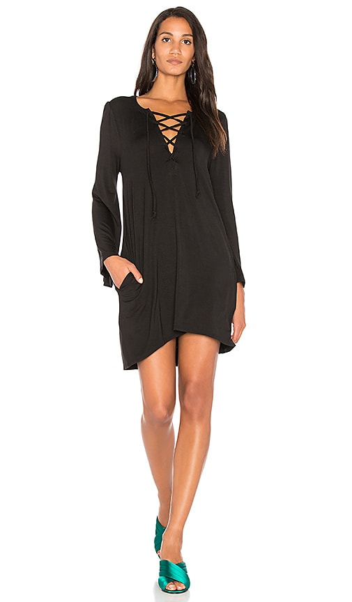 Chaser Cool Jersey Lace Up Dress in Black