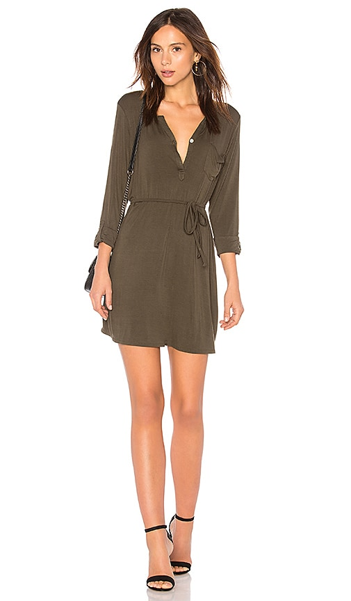 Chaser Cool Jersey Henley Dress in Green
