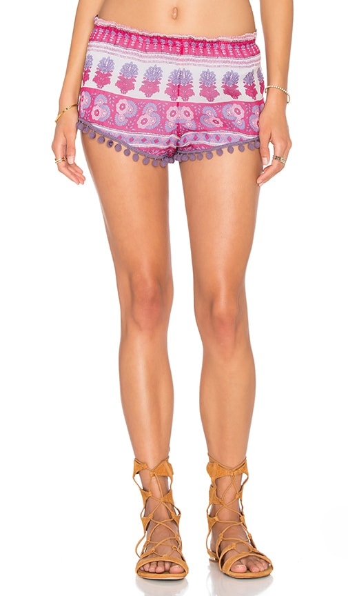 Chaser Printed Pom Pom Short in Pink Sarong