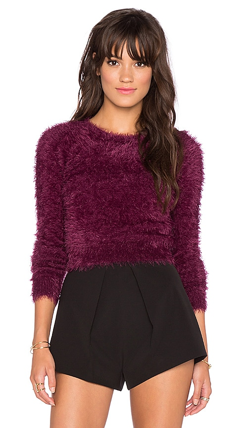 Chaser Long Sleeve Crop Sweater in Cabernet