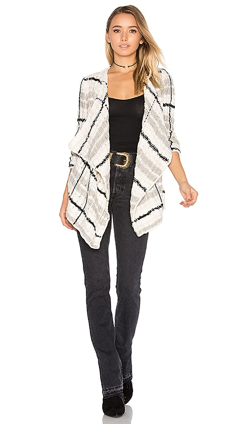 Chaser Drape Front Cardigan in Ivory
