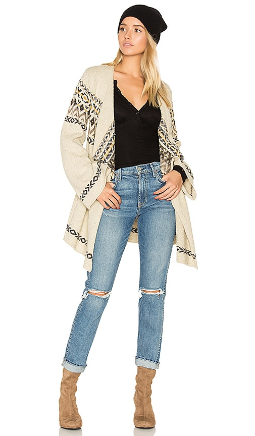 Chaser Drape Front Open Cardigan in Cream