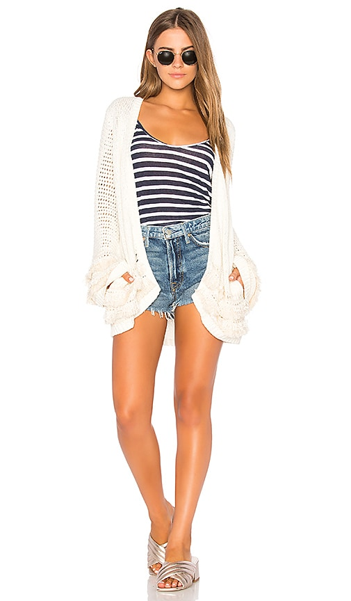 Chaser Fringe Cardigan in Cream