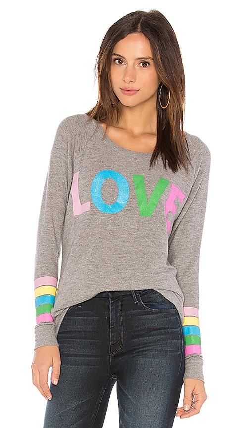 Chaser Rainbow Love Stripe Tee in Gray