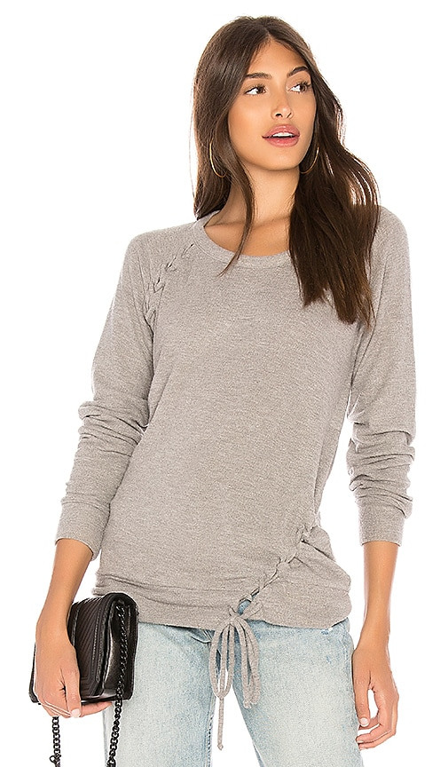 Chaser Love Knit Raglan Sweatshirt in Gray