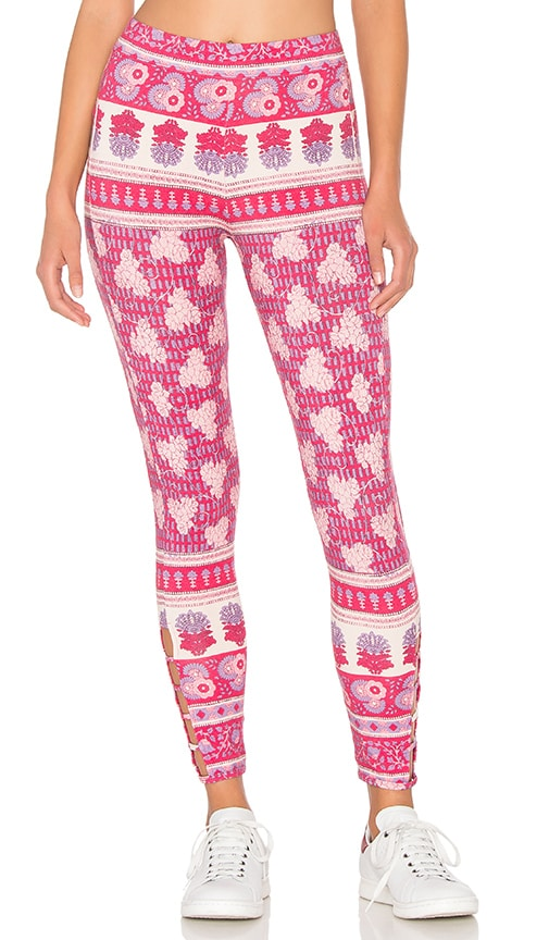 Chaser Printed Side Strip Legging in Pink
