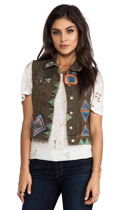 Patched Denim Vest
