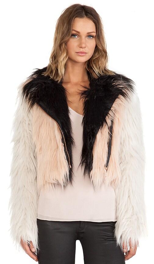 Colorblocked Faux Fur Moto Jacket