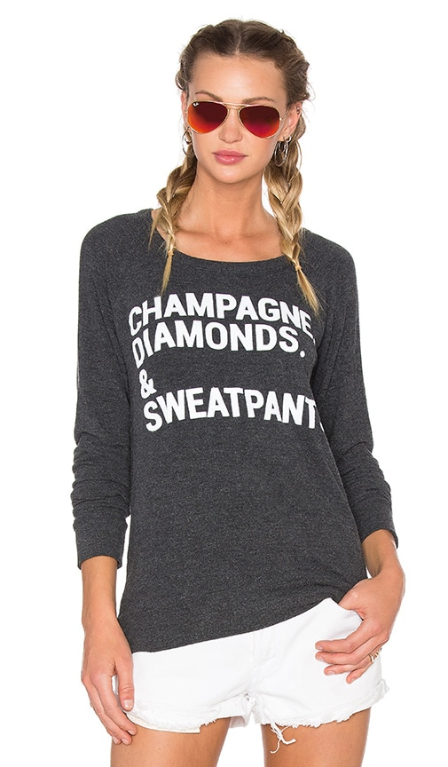 Chaser Champagne & Sweatpants Sweater in Charcoal
