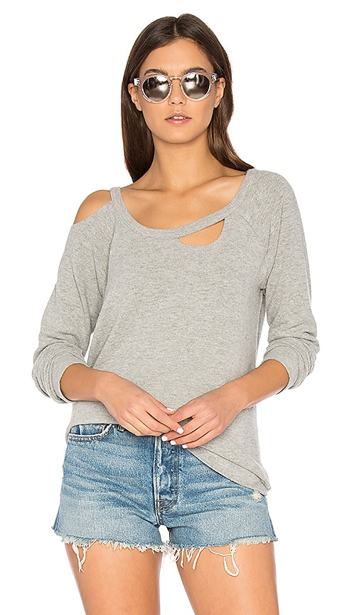 Chaser Deconstructed Raglan Pullover in Gray
