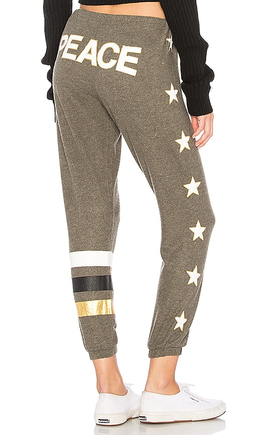 Chaser Peace Star Sweatpant in Olive