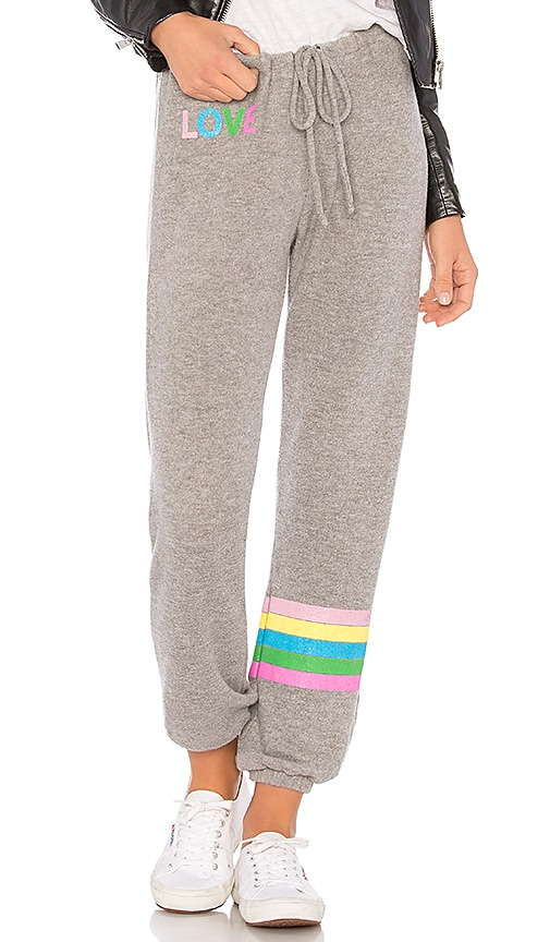 Chaser Rainbow Stripe Sweatpant in Gray