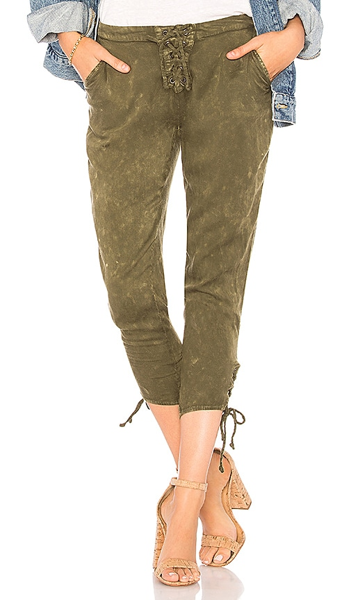 Chaser Heirloom Lace Up Cropped Pant in Green