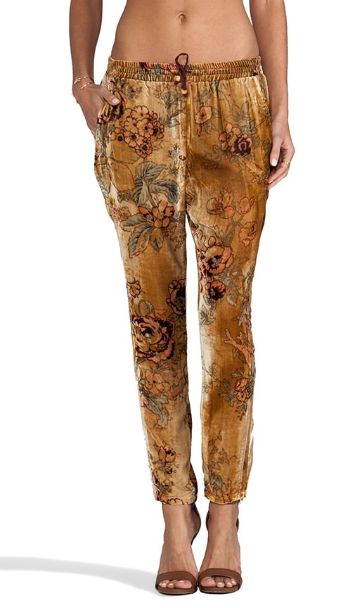 Velvet Slouchy Pant Antique Rose Velvet with Dip Dye