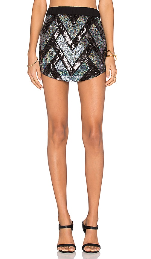 Chaser Embellished Mini Skirt in Metallic Silver