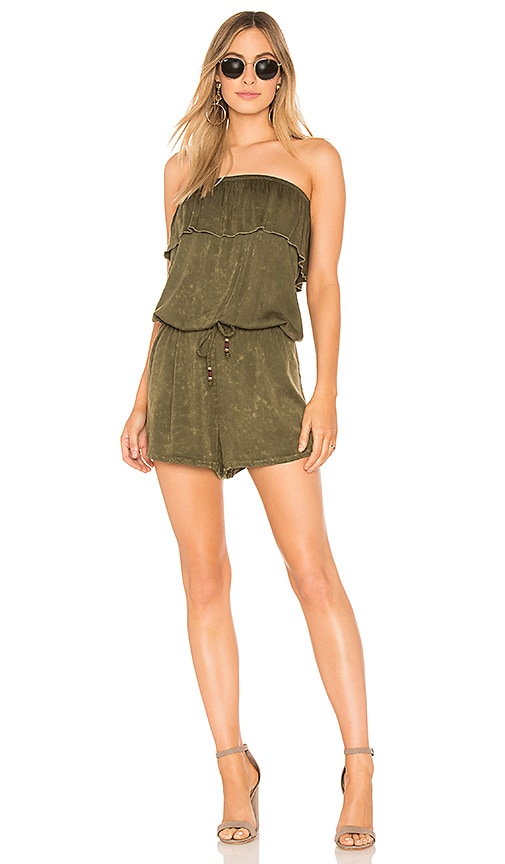 Chaser Heirloom Ruffle Romper in Green