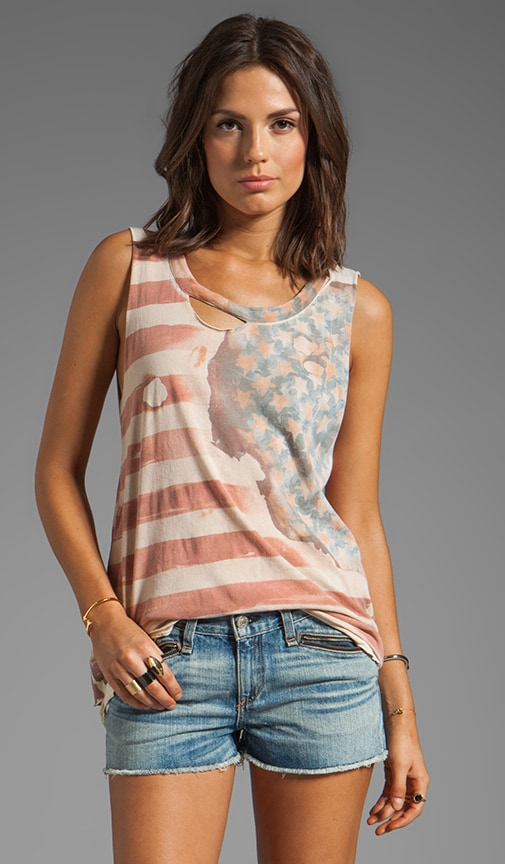 Vintage Flag Graphic Cotton Deconstructed Muscle Tee