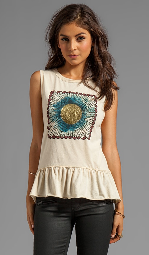 Feather Sun Peplum Muscle Tee