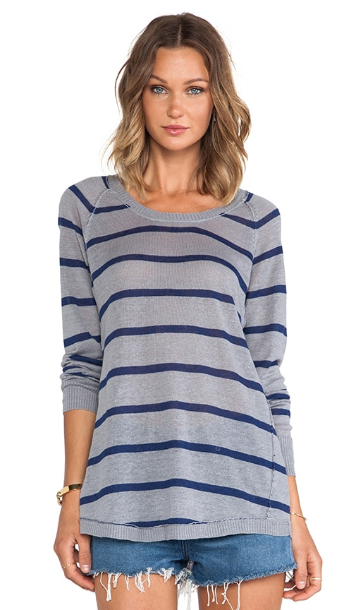 Striped Scoop Neck Shirt Tail