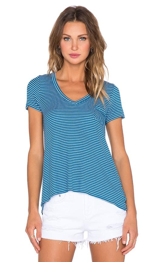 Chaser Striped V Neck Pocket Tee in Blue & White Stripe