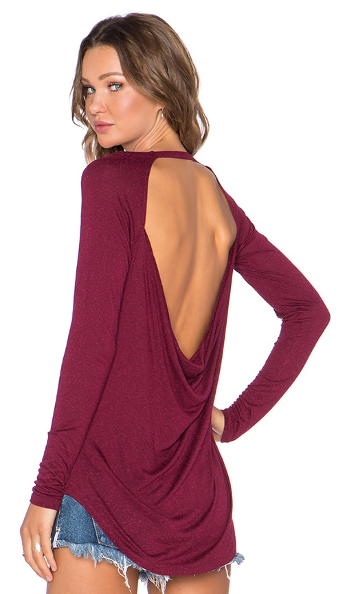 Chaser Drape Back Long Sleeve Tee in Red