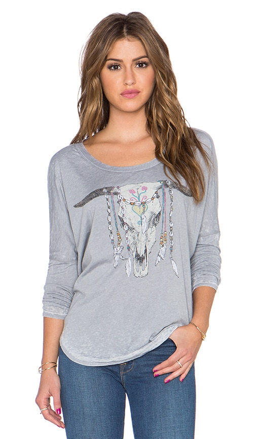 Chaser Cow Skull Jewels Long Sleeve Tee in Platinum