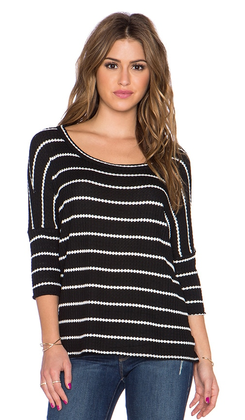 Chaser Stripe Thermal Boxy Tee in Black