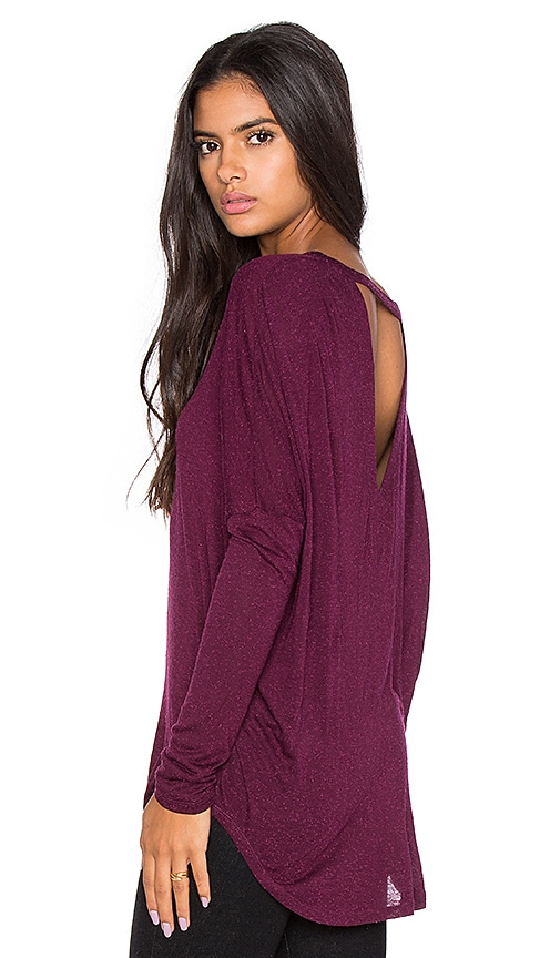 Chaser Oversized V Back Dolman Tee in Wine