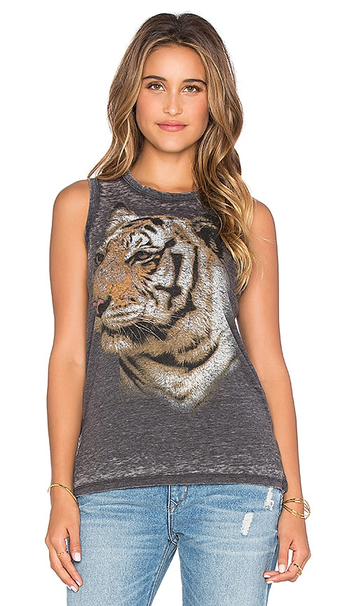 Chaser Tiger Face Muscle Tank in Vintage Black