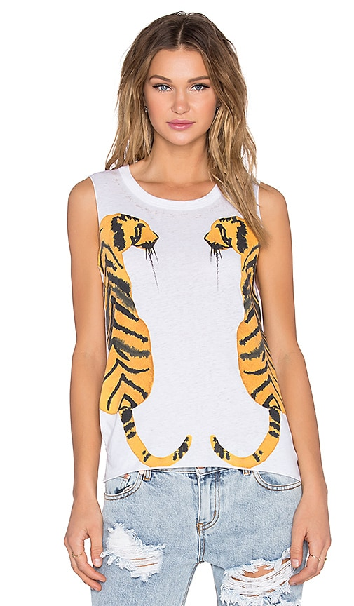 Chaser Watercolor Tigers Tank in White