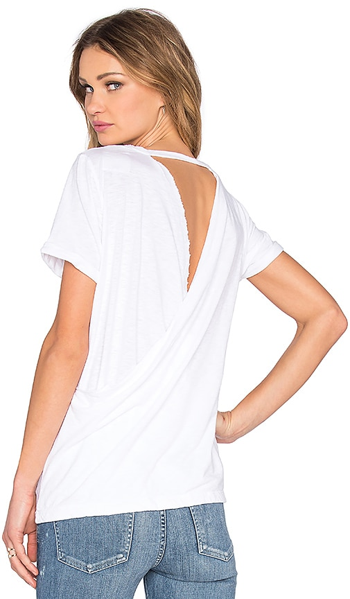 Chaser Cross Back Rolled Sleeve Tee in White
