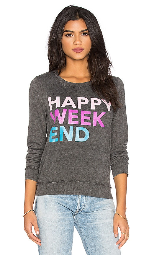 Chaser Happy Weekend Long Sleeve Tee in Black