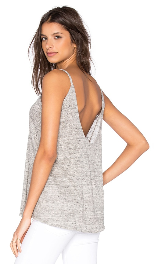Chaser Scoop Back Flounce Tank in Heather Grey