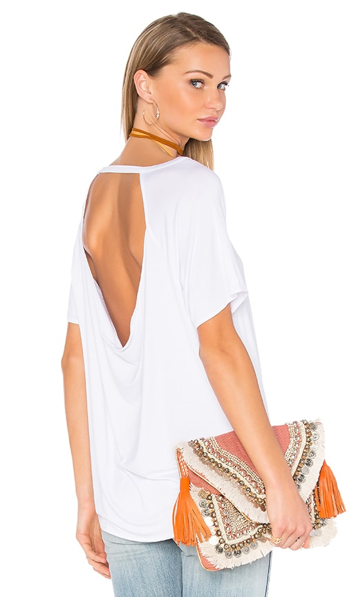 Chaser Drape Back Short Sleeve Scoop Neck Tee in White