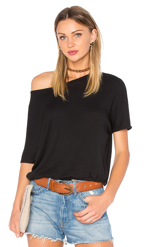 Chaser Oversized Drawstring Dolman Tee in Black