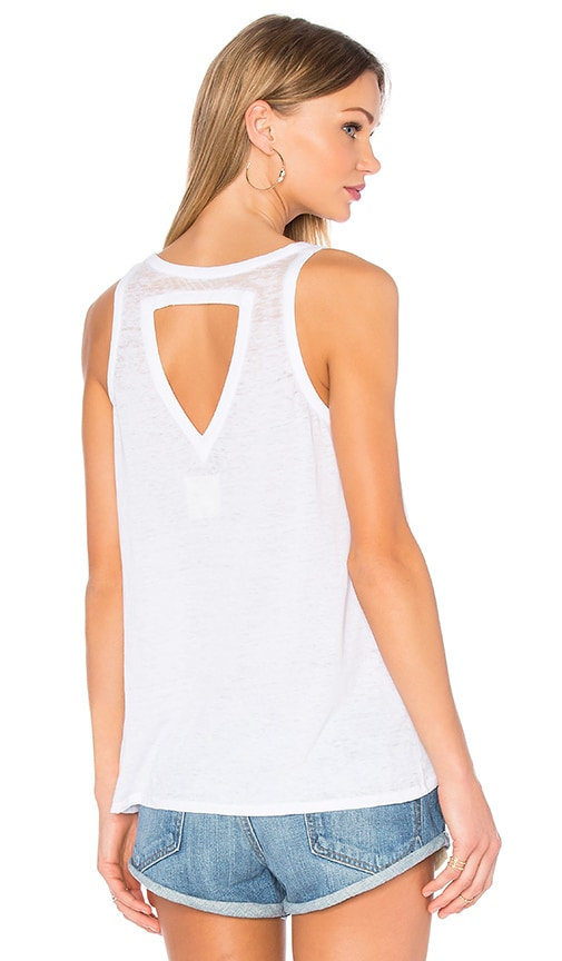 Chaser Open Triangle Back Flounce Tank in White