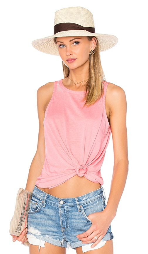 Chaser Open Back Flounce Tank in Pink