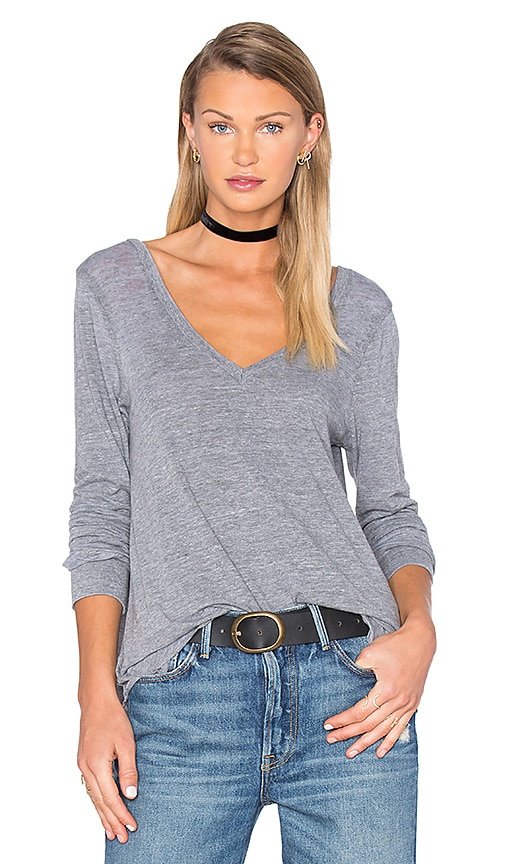Chaser Double V Long Sleeve Tee in Gray