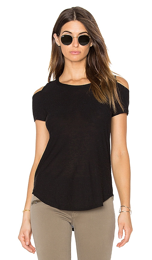 Chaser Open Back Cold Shoulder Tee in Black